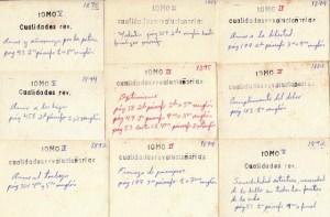 Cuando joven hice cientos de fichas que recogen la localización en las obras completas de pensamientos martianos según una clasificación que me inventé. En la imagen, algunas tarjetas de la categoría Cualidades revolucionarias.