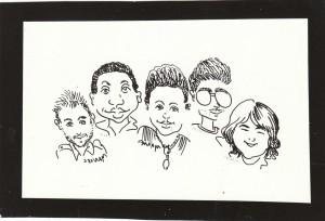 Caricatura que identificaba a la página que hicimos los estudiantes durante el XVI Congreso de la CTC. De izquierda a derecha, José Luis Rumbaut, Pedroso —fallecido—, Rayma Elena Hernández, Paquito y Yimel Díaz Malmierca. Los dos últimos todavía estamos en Trabajadores.
