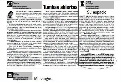 Facsímil de la página 2 de Juventud Rebelde del 17 de mayo. Encerrada en un óvalo, la nota aclaratoria del error en la información del día 14 de mayo.