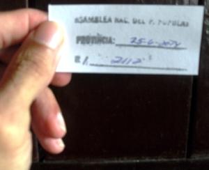 Comprobante que muestra la fecha y el número de registro de entrada de la carta en oficina de correspondencia de la Asamblea Nacional.