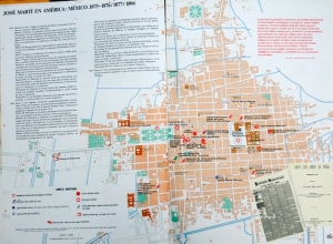 Llevo conmigo un mapa de la ciudad de México en el siglo XIX, para ver si me da tiempo a reencontrar algunos sitios que conoció el joven José Martí